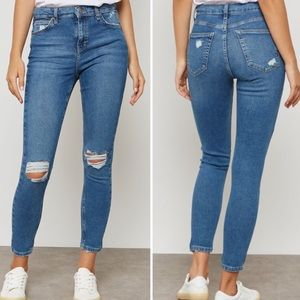 Topshop MOTO Jamie High Rise Ripped Skinny Jeans